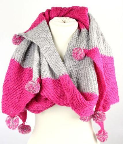 823e53973a2d91 ausgefallener Schal mit Bommeln pink/grau