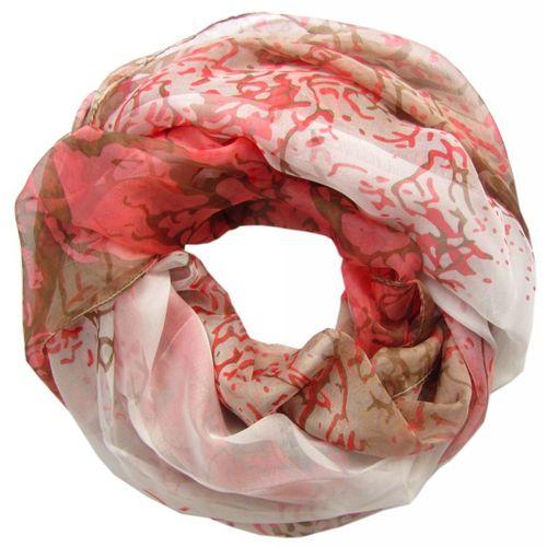 483e23e2ce37c3 edler Loop Schal mit Seide braun rosa weiß