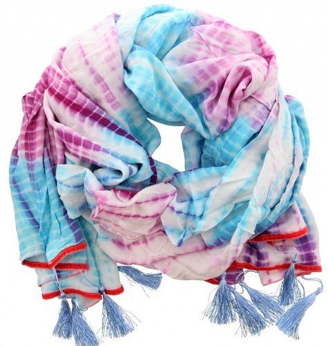 0f165c4d3b3217 großer Schal im Batiklook in Blau- und Lilatönen