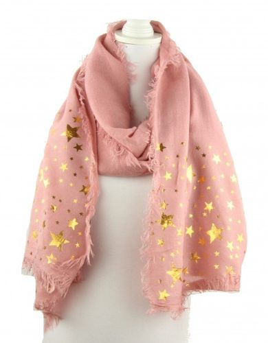 10653bb454249a weicher Webschal rose quartz mit goldenen Sternen