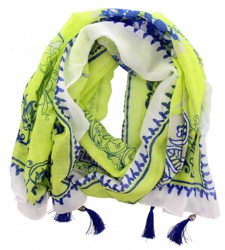 4856fb68b2242c gemustertes Tuch mit Perlen weiß blau grün