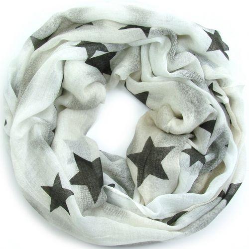 805155e9693e0b tolles weiches Looptuch mit Sternen weiß/beige
