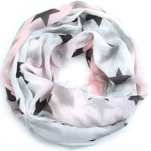 fcd5ca20a2fd41 tolles weiches Looptuch mit Sternen weiß/rose'
