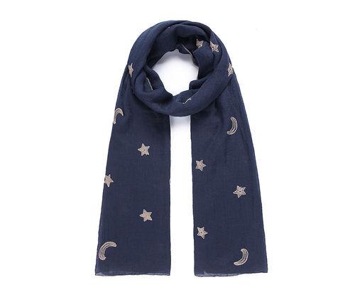 2366d766caf674 Schal mit Mond und Sternen bestickt dunkelblau
