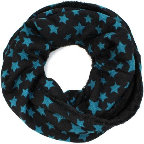 fa66a83518628a gefütterter Loop Schal mit Sternen schwarz petrol